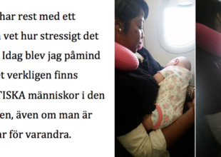 Hennes baby slutade inte gråta på planet. Då räddade en främling hennes dag