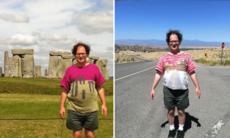 Den här killen stickar tröjor från kända landmärken – som han sedan besöker